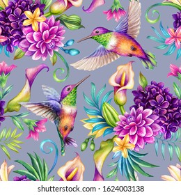 digital botanical background, watercolor illustration, seamless floral pattern, humming birds, wild tropical flowers, violet. Paradise nature garden. Palm leaf, calla lily, plumeria, hydrangea, gerber