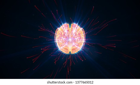 Digital brain illustration with futuristic background; concept of artificial intelligence singularity, machine learning, ai, deep learning blockchain neural network concept.