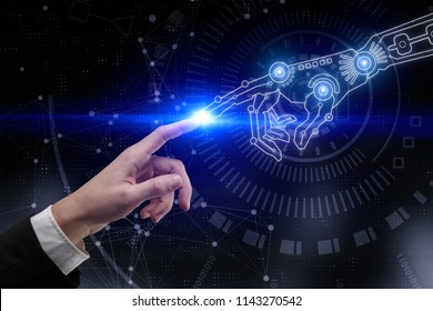 Digital business hands pointing at abstract blue cyberspace background. Artificial intelligence and technology concept. 3D Rendering