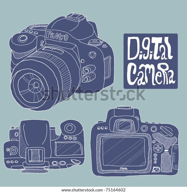 Digital Camera Drawing Blue Color Theme Stock Illustration 75164602