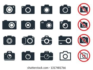 digital camera icons, photocamera icon set