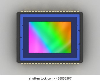 Digital camera sensor 3D model, flat lay, top view