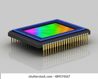 Digital camera sensor,  side view, isolated, concept, 3D rendering, 3D rendering