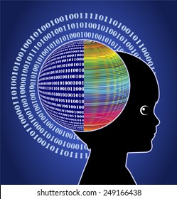 Digital Child. Concept sign of digital native with computer brain