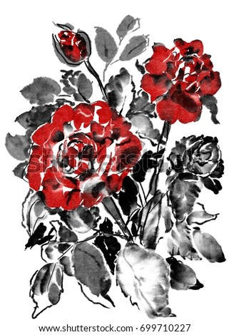 Digital Chinese Watercolor Roses Bouquet Composition Stock