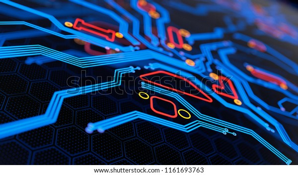 Digital Circuit Board Abstract Background. 3D illustration