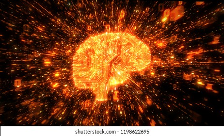 Digital circuitry brain with orange streams of exploding binary data
