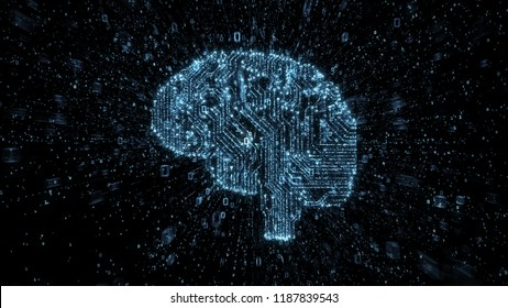 Digital circuitry brain with streams of exploding binary data
