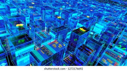 Digital City Abstract Futuristic Background. 3D illustration