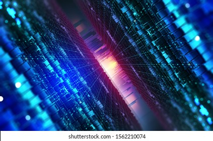 Digital city and Bigdata. Cybercity 3D illustration. Wireless internet technologies. Database protection and secure transmission of information on blockchain network