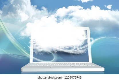 Digital Cloud illustrated on Laptop and Blue Colors and Blank Space for Creativity. 3D Rendered