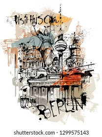 Digital collage-drawing from Berlin. the capital of germany.