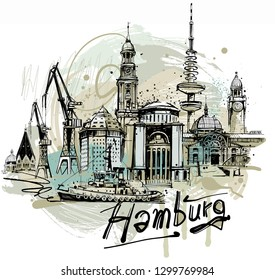 Digital collage-drawing from Hamburg. Isolated on white Background.
