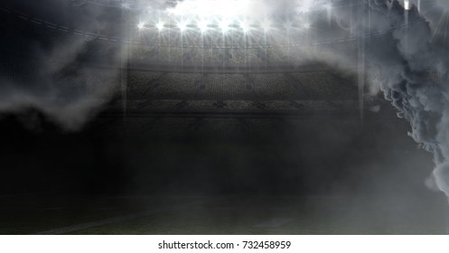 Digital composite of american football stadium with clouds