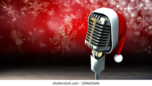 Digital composite of Santa hat on microphone with snowflakes