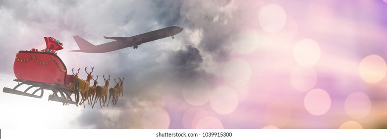 Digital composite of Sparkling transition of Santa's sleigh and plane and reindeer's