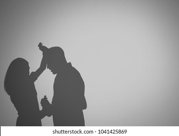 Digital composite of Violent couple silhouettes arguing