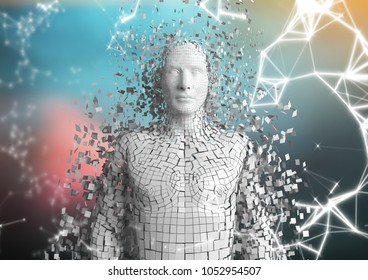 Digital composite of White network and white male AI against blurry blue and red background