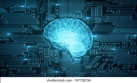 Digital computer brain on circuit board with blue glows and lensflares