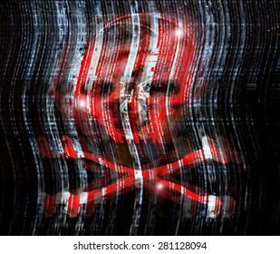 digital crime concept illustration with skull
