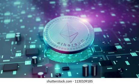 Digital cryptocurrency Ethereum symbol on circuit board 3D illustration