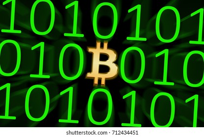 Digital Currency - Bitcoin / Image showing a Bitcoin symbol in orange within a group of ones and zeros, depicting digital currency.