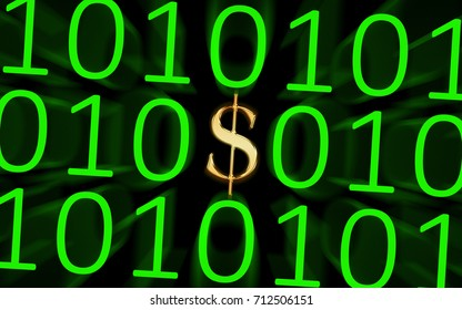 Digital Currency - United States / Image showing a U.S. dollar symbol in orange within a group of ones and zeros, depicting digital currency.