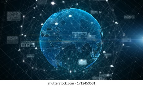 Digital Data Connection, Technology Network and Cyber Security Concept, Digital cyberspace future background concept.