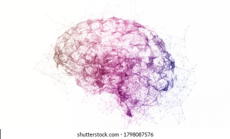 Digital data and network connection of multi color human brain isolated on white background. Artificial intelligence 3d conceptual illustration