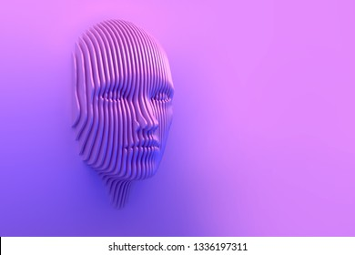 Digital, decay, composite, part, bright, color, connect, stripes, lines, abstract, background, surrealism, virtual reality, head, 3d illustration, copy space, template