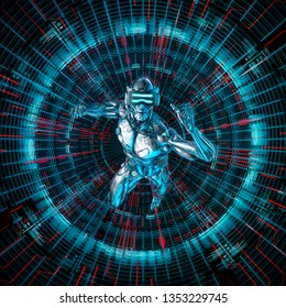 Digital deep dive / 3D illustration of science fiction male humanoid android entering virtual reality matrix
