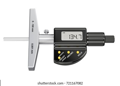 Digital Depth Micrometer, 3D rendering isolated on white background