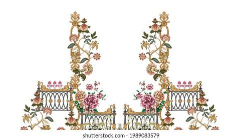 Digitales Design, digitales Blumenmotiv und hinterlässt abstrakte Kunstwerke für den Druck auf weißem Hintergrund