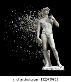 Digital Disintegration Of Sculpture David Isolated  On Black Background. 3D Illustration.