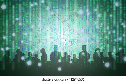 Digital disruption concept background. Double exposure of silhouette of peoples with binary code abstract background. Representing sharing economy in digital disruption.