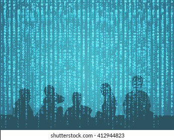 Digital disruption concept background image. Double exposure of silhouette of peoples with binary code abstract background. Representing sharing economy in digital disruption.
