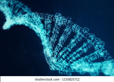 Digital DNA molecule, structure. Concept binary code human genome. DNA molecule with modified genes. 3D illustration