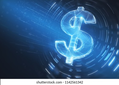 digital dollar sign illustration at abstract blue background. 3d rendering