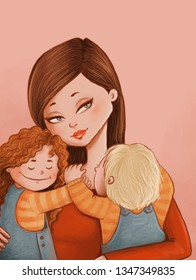 digital drawing of a beautiful mother and her two happy kids