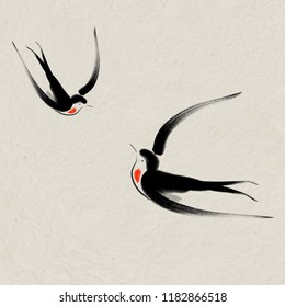 Digital drawing Chinese brush painting style  illustration of two imaginary birds flying facing each other on rice paper texture. Birds meant to be swallows