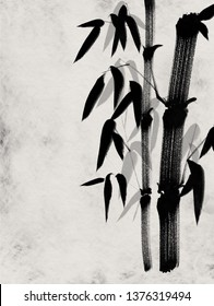 Digital drawing Chinese brush painting style illustration of bamboo shoots and leaves on Japanese rice paper texture with copy space for text haiku poem or stationery set