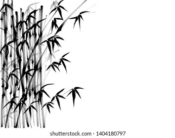 Digital drawing Chinese brush painting style illustration of bamboo shoots and leaves isolated on white background with copy space for text haiku poem or stationery set template