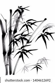 Digital drawing Chinese brush painting style illustration of bamboo shoots and leaves isolated on white background can be used as background or wallpaper
