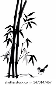 Digital drawing Chinese brush painting style illustration of bamboo and bird isolated on white background with copy space for text poem haiku note or stationery template