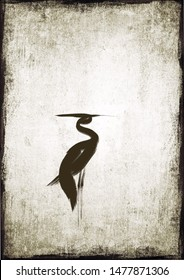Digital drawing Chinese brush painting style illustration of heron like bird on grunge background with copy space for text haiku poem card or note