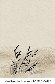Digital drawing Chinese brush painting style illustration of water plant on Japanese rice paper background with copy space for text poem haiku or note