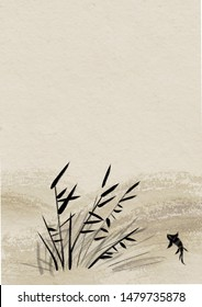 Digital drawing Chinese brush painting style illustration of water plant and fish on Japanese rice paper background with copy space for text poem haiku or note