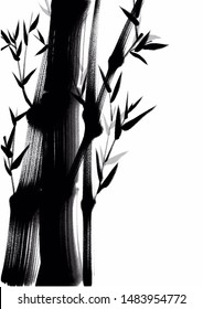 Digital drawing Chinese brush painting style illustration of bamboo shoots and leaves isolated on white background with copy space for text haiku poem or note