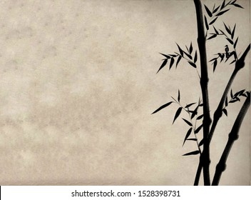Digital drawing Chinese brush painting style illustration of bamboo shoots and leaves and a bird on right side of picture with space for text haiku poem or note on left side