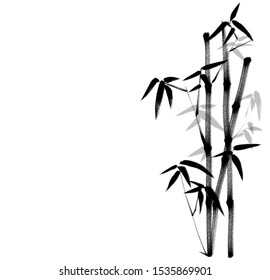 Digital drawing Chinese brush painting style illustration of bamboo shoot stems and leaves isolated on white background with copy space for runaround or wraparound text for haiku poem or note